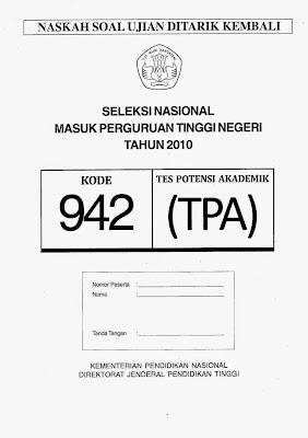 Naskah Soal Snmptn 2010 Tes Potensi Akademik (Tpa) Kode Soal 942