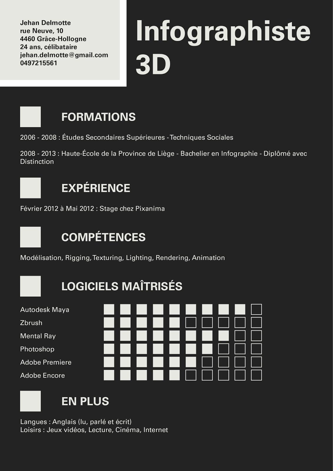 exemple cv infographiste 3d