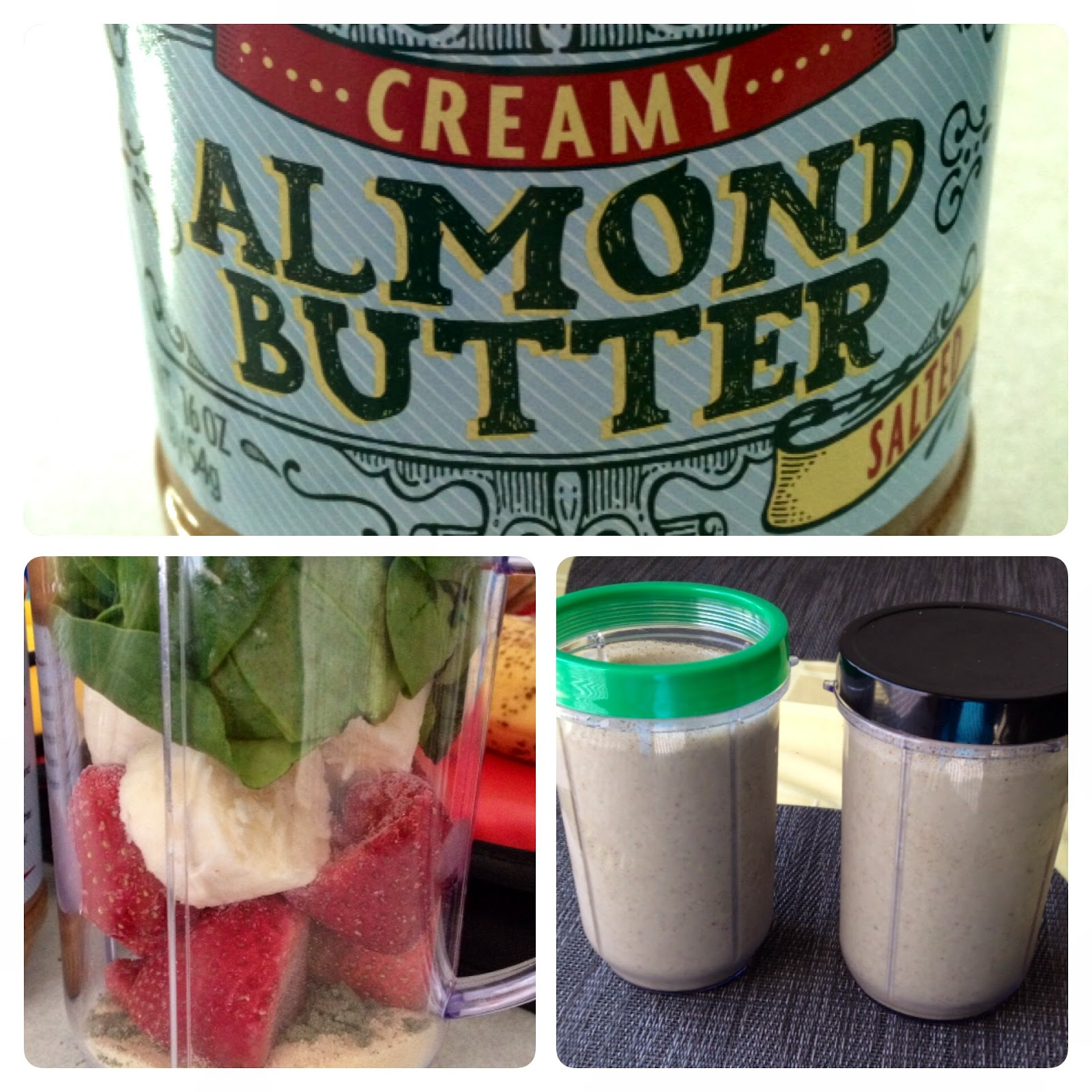 banana 1/2 c frozen strawberries 2 tbs almond butter 8 oz almond ...
