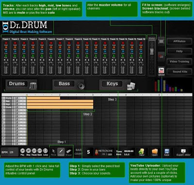 Drums DJ, drum recording software, drum sequencer software