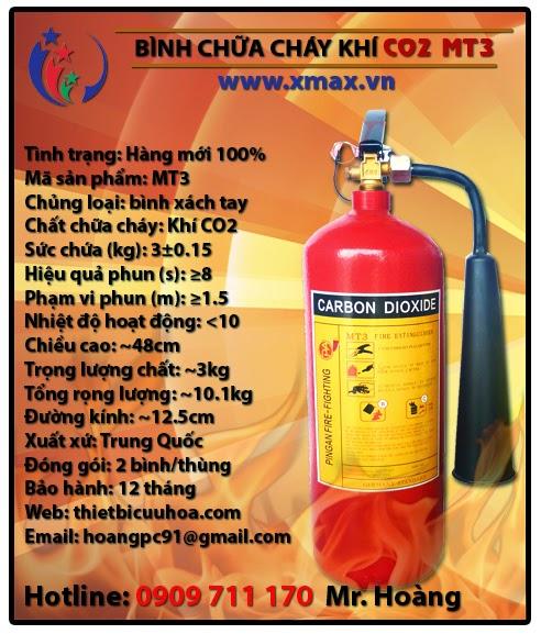 Bình chữa cháy khí CO2 MT3 3kg loại xách tay