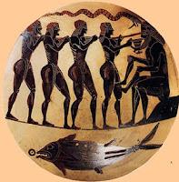 Copa Cienaica de Ulises y Polifemo. Grecia Arcaica. Grecia antigua. Ceramica griega