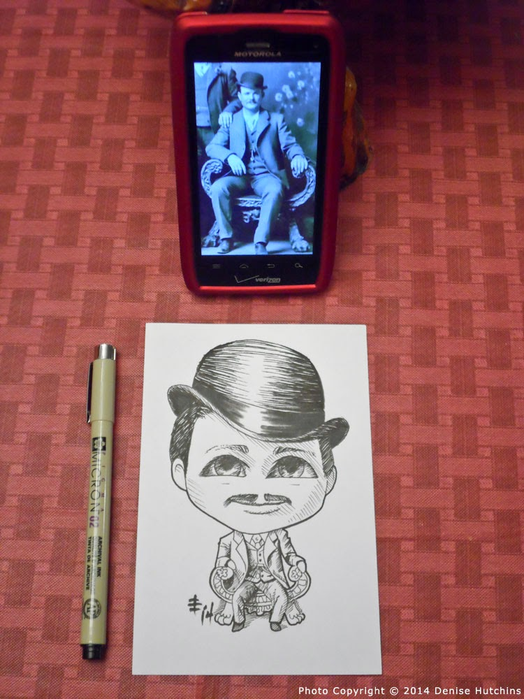 Inked Drawing of Chibi Butch Cassidy with Reference