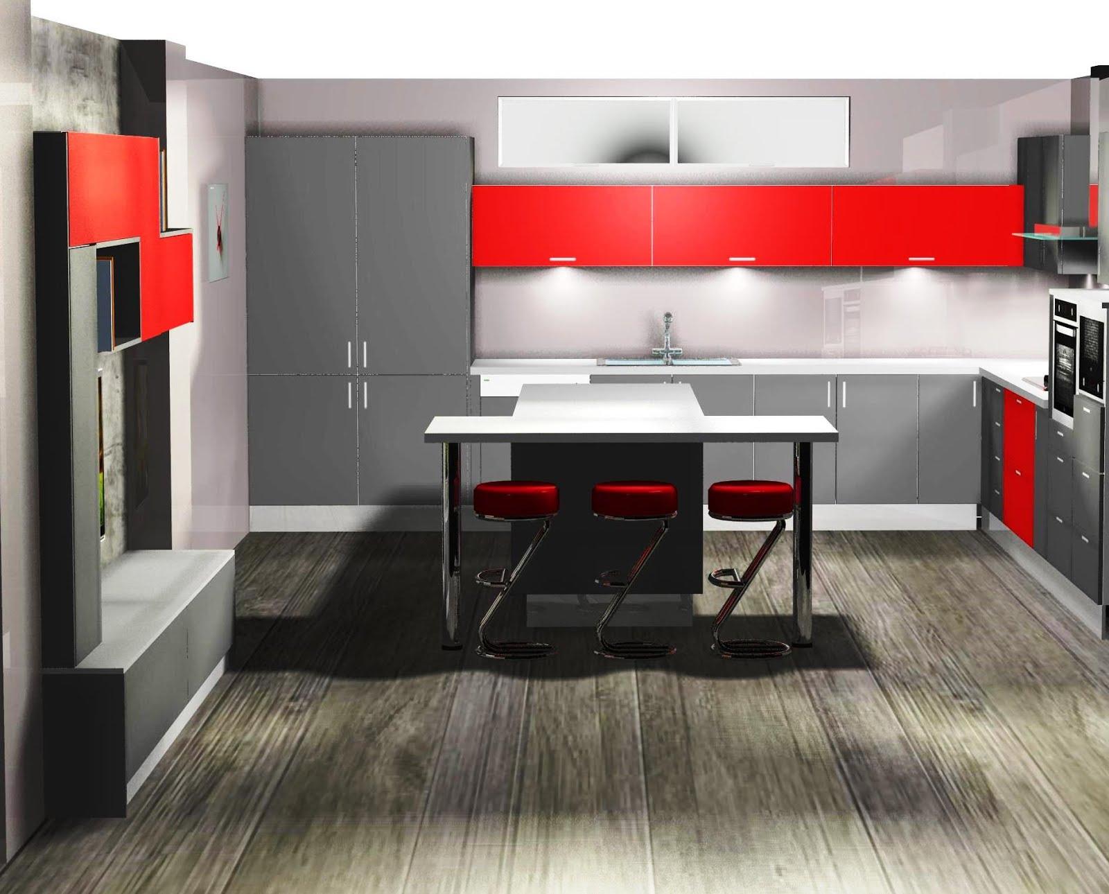 Cocina en gris y rojo