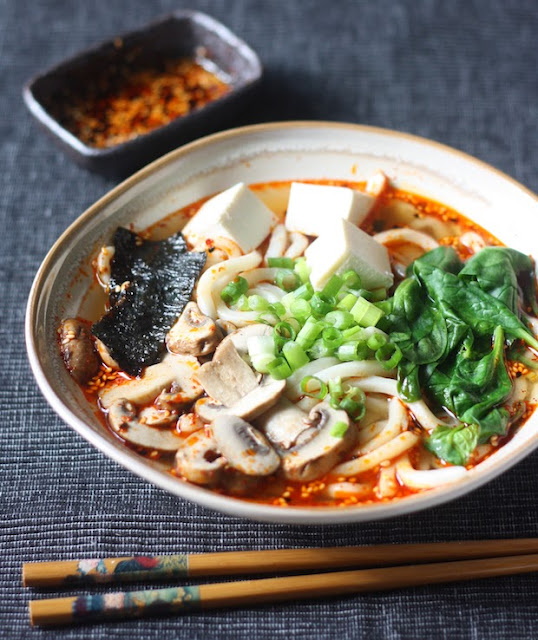 Miso Udon Noodle Soup with Spicy Korean Chili Dressing ~ JommJalan