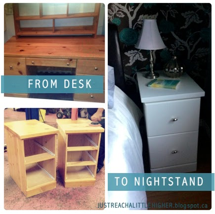 Just reach a little higher diy desk to nightstand for How to make a nightstand higher