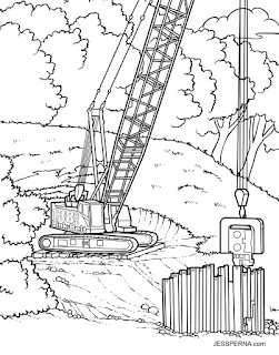 Coloring Book Illustrator for Construction Crane Drawings | How to ...