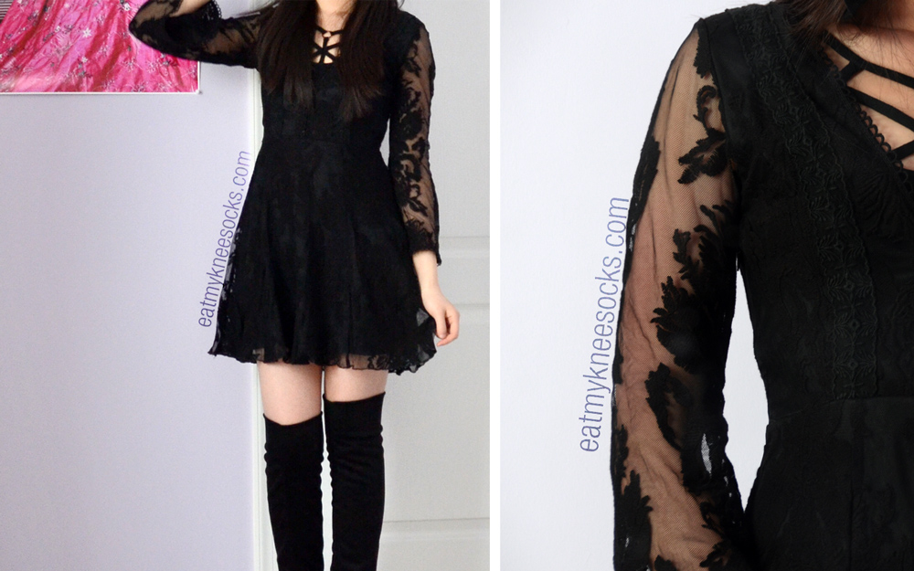 The Free People strappy front bra, SheInside dupe sheer lace dress, and over-the-knee boots.