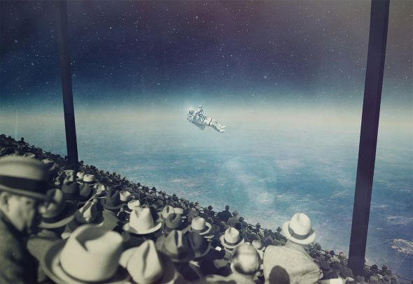 Joseba Elorza MiraRuido illustrations collages surreal vintage Astronaut