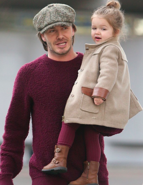 Harper seven beckham was picked up by david from the nursery in london