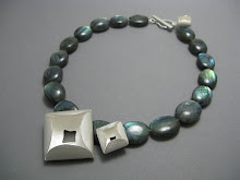 Clover bud necklace, silver & labradorites £295