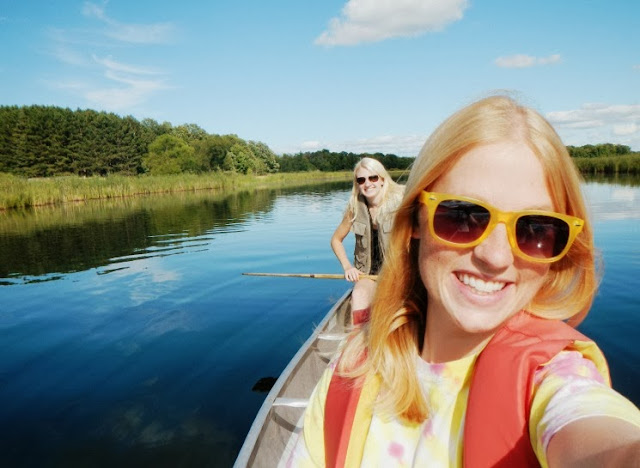 selfie in the canoe on the rum river at mille lacs kathio state park
