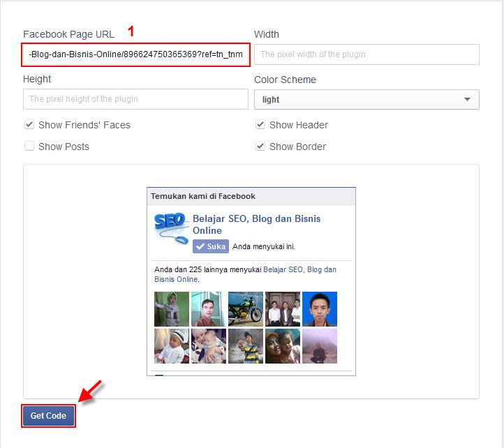 Cara seting like box facebook untuk mendpatkan kode