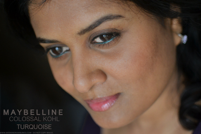 Maybelline India Colossal Kohl Turquoise Swatches Review Photos FOTD