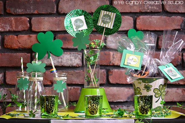 shamrock party, st pattys day decor, four leaf clover