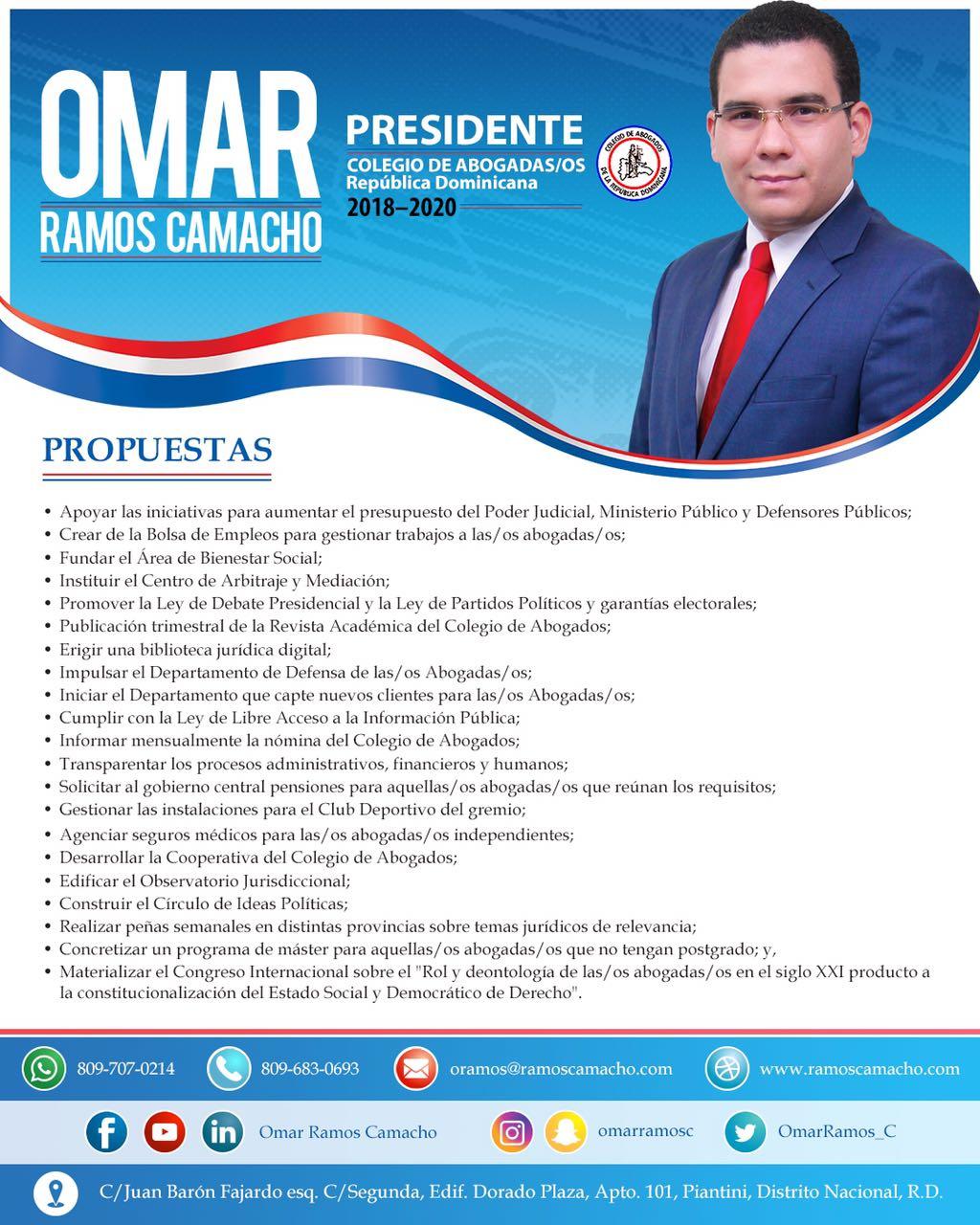 Licdo. OMAR  Aspirante a la presidencia del Colegio de abogados de RD.