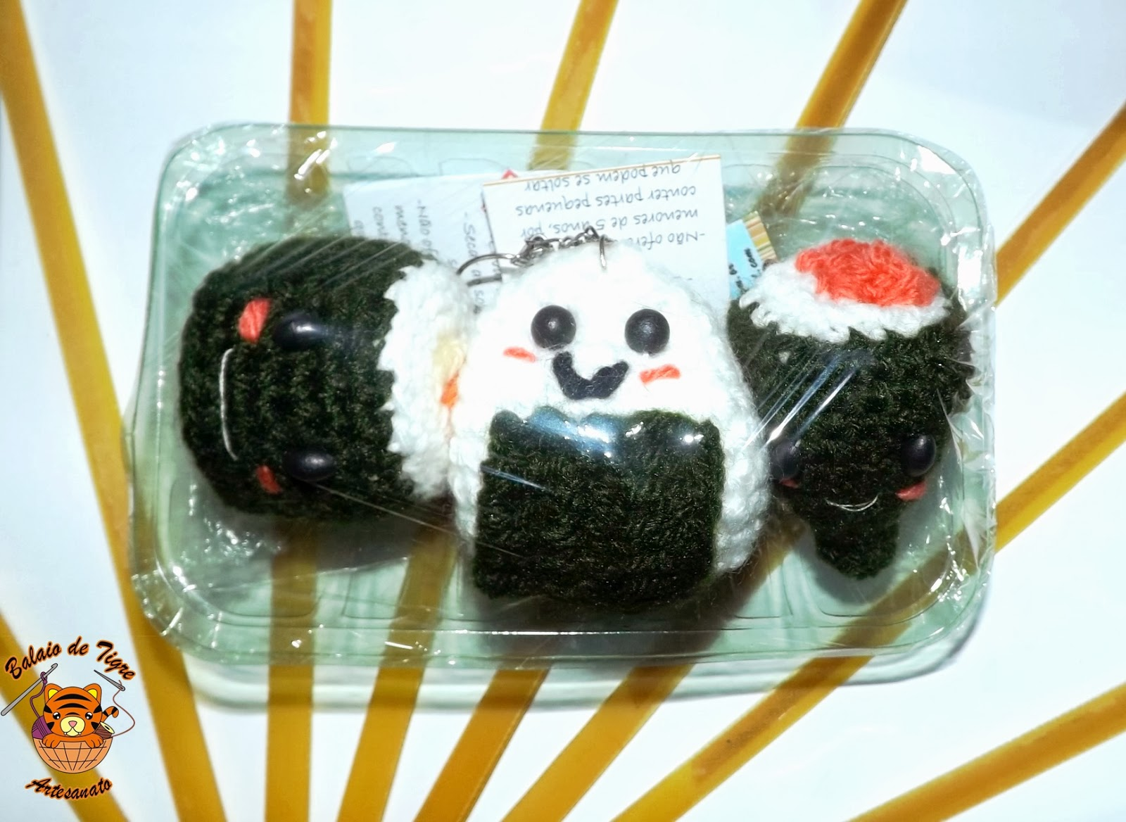 amigurumi kit sushi balaio de tigre artesanato croche