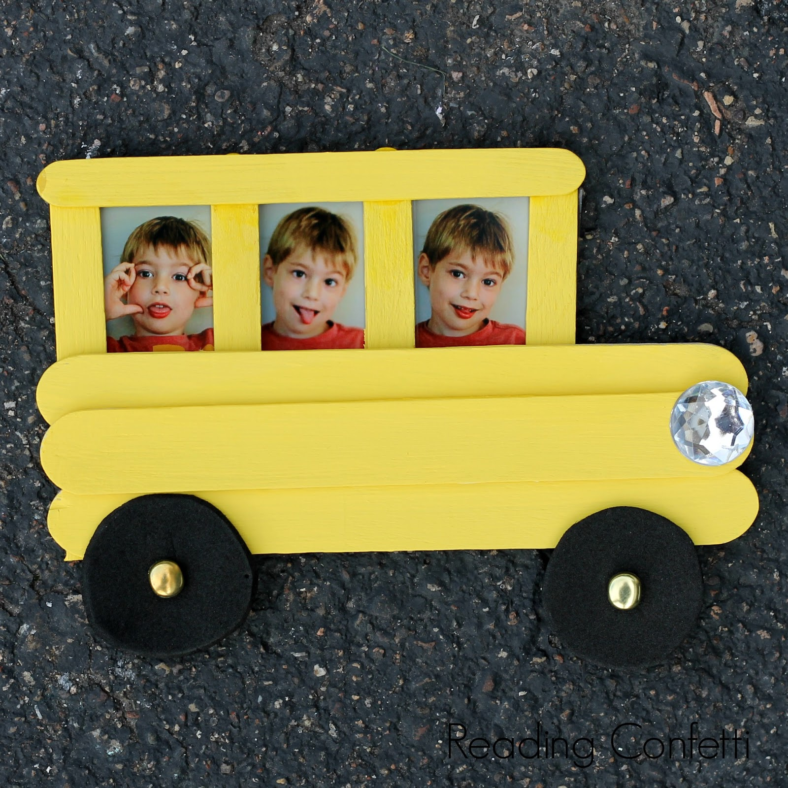 Craft Stick School Bus Frame and Back to School Books ~ Reading Confetti