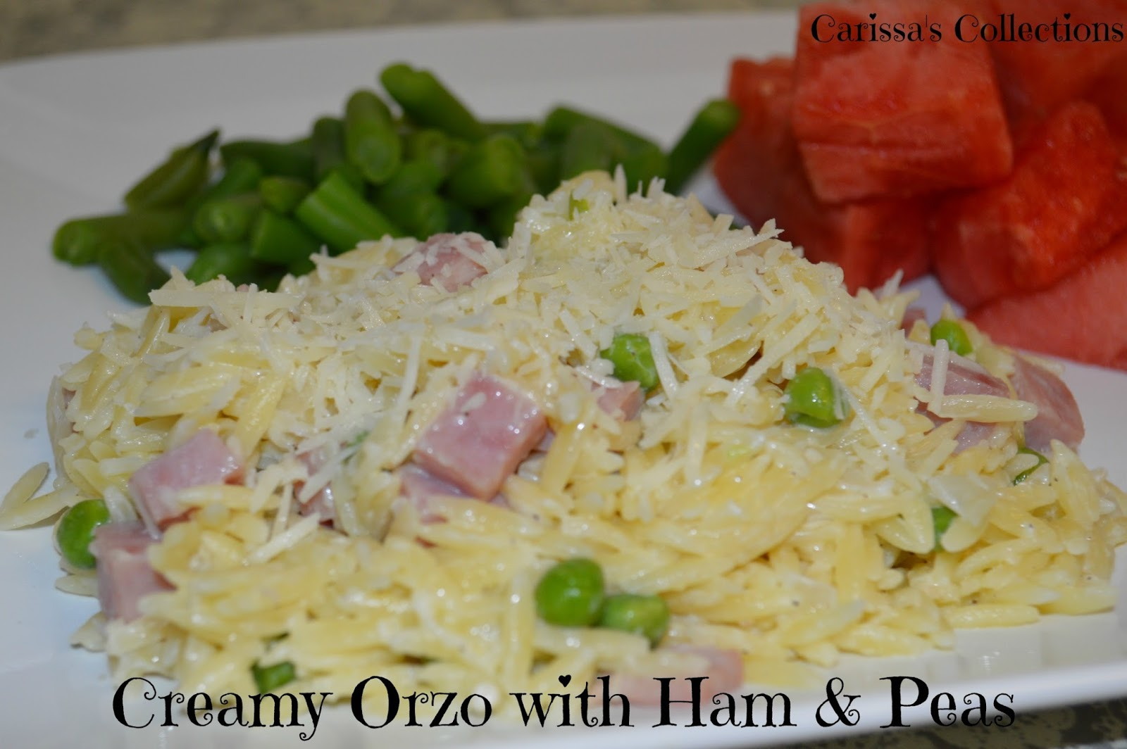 Food Recipe Creamy Orzo With Ham And Peas