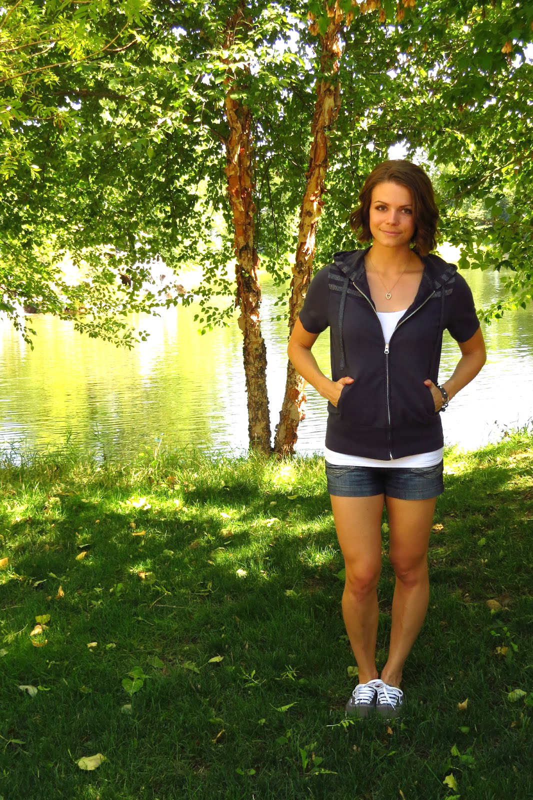 Sporty chic, Hoodie Shorts and Sneakers, Short Curled Hairstyle