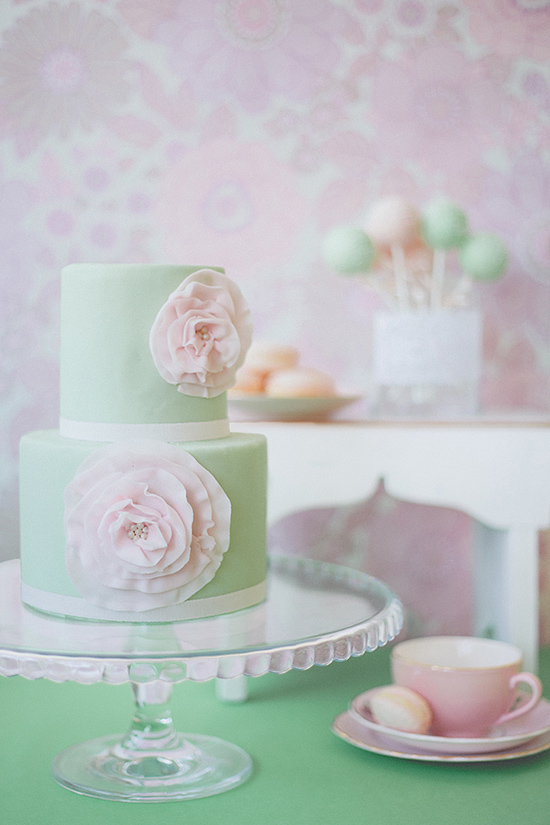 pastel+mint+green+floral+cake Polka Dot Bride Pastel Wedding Decor and Interior Inspiration