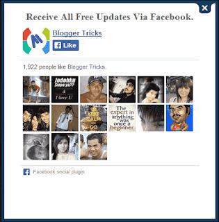8) نافدة فايسبوك منبثقة للاعجاب بصفحتك