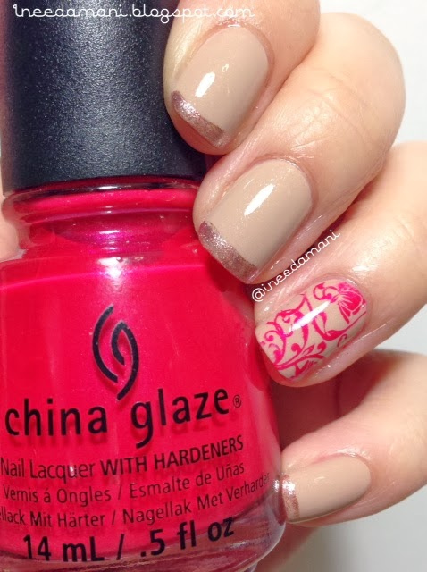 nude metallic french tips and lacy red accent nails