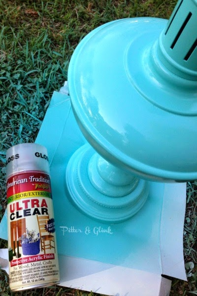 Make a lamp shiny with a clear, glossy spray paint pitterandglink.com