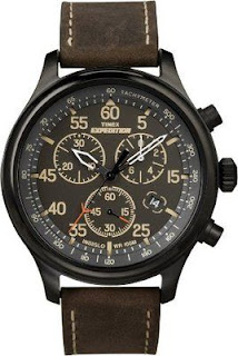 Timex Men's Expedition Leather Watch, Chronograph, 100 Meter WR, Indiglo, T49905