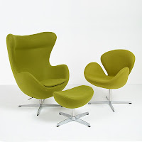 Egg Chair and Swan Chair Reproductions in Green Fabric