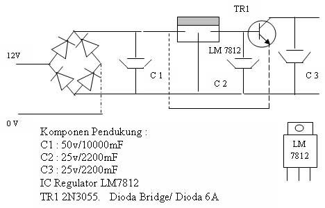 Gambar Skema Rangkaian Power Supply Travo 5 sampai10 Ampere