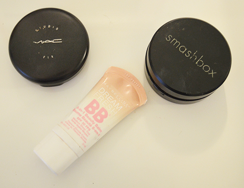 Mac Studio Fix Powder, Smash Box powder and Maybelline BB cream