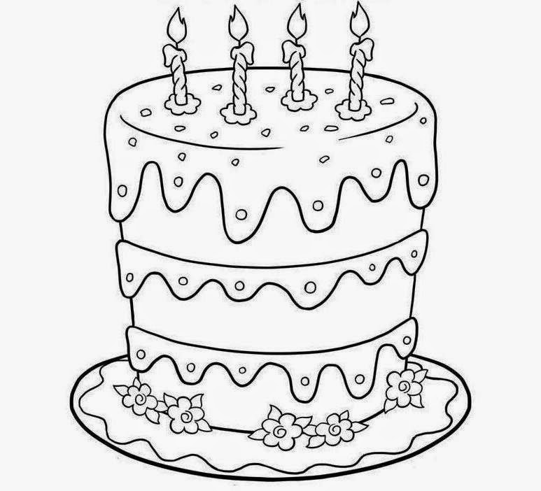 Colour Drawing Free Wallpaper Birthday Cake Printable