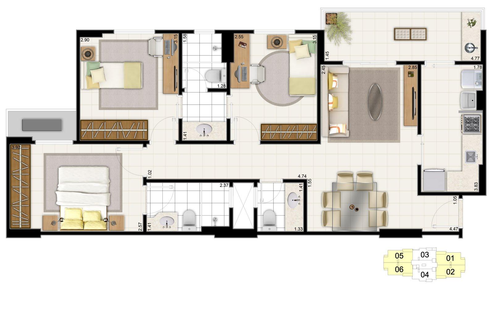 Projeto De Casa Com 3 Quartos Projetos De Casas Errea De Quartos E