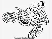 Mewarnai Gambar Atraksi Sepeda Motor Keren