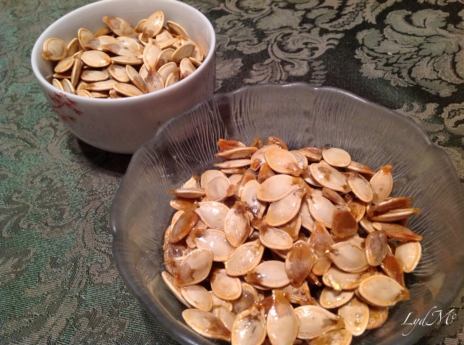 Roasted pumpkin seeds and their caramelized kin, kettle seeds.