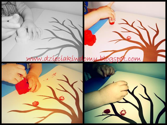 jesienne drzewa malowane farbami