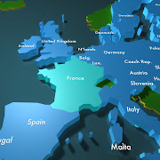 3d Map of Europe. This 3d model is designed to be a simplified fully .