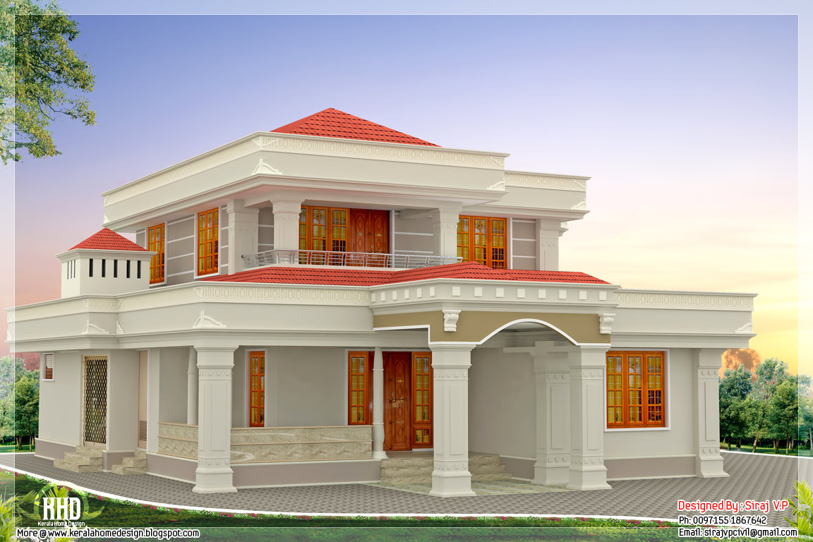 Beautiful indian home design in 2250 kerala home for Indian house image