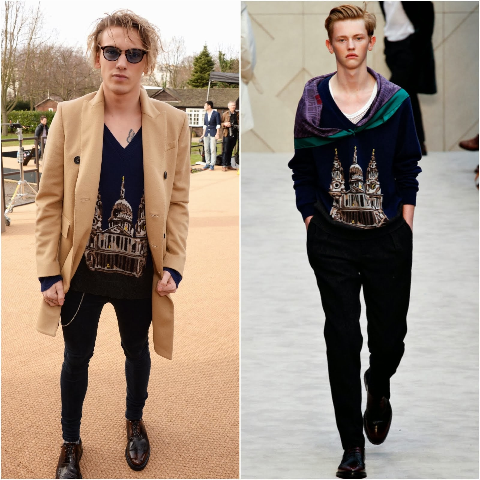Jamie Campbell Bower, Harry Styles and Tinie Tempah in Burberry - London Fashion Week FW14