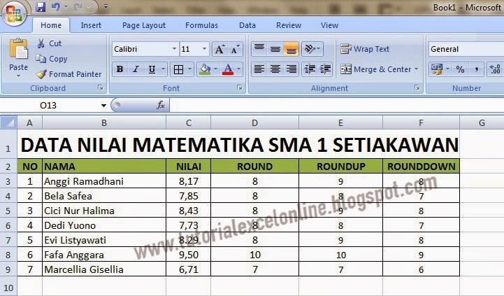 nilai pecahan yang dibulatkan pada Excel