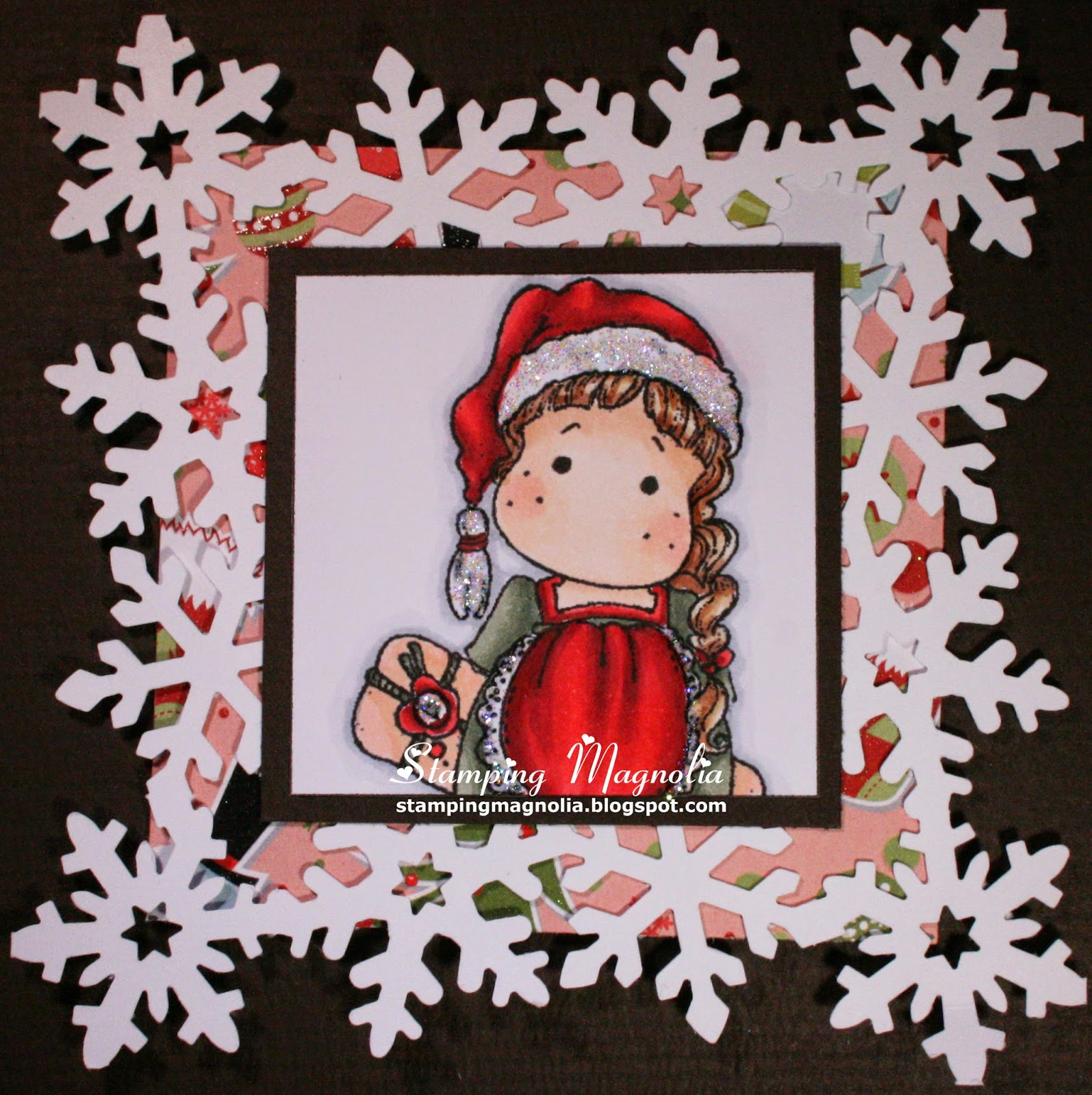 Coloring Magnolia Stamp Sweet Christmas Dreams Collection - Tilda Hiding Gift