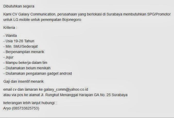 lowongan kerja spg terbaru bojonegoro 2014 portal lowongan kerja rh kerjadijatim blogspot com