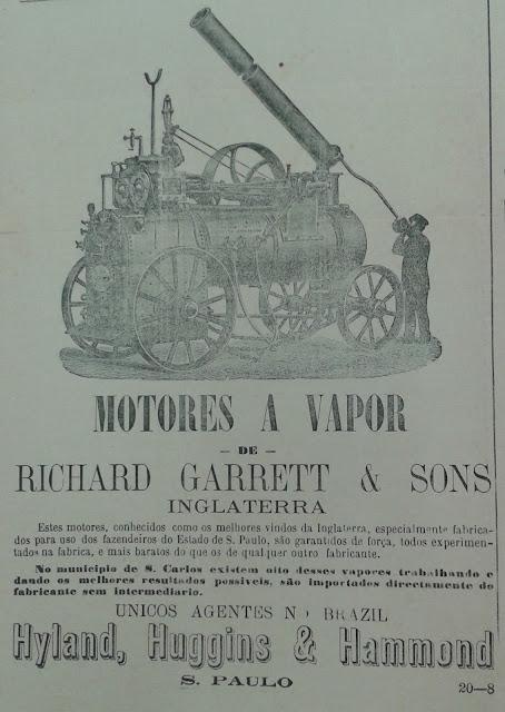 Propaganda do século XIX sobre maquinários movidos a vapor.