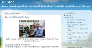"""Một blog mang tên """"Tư Sang"""" do thế lực phản động lập ra."""