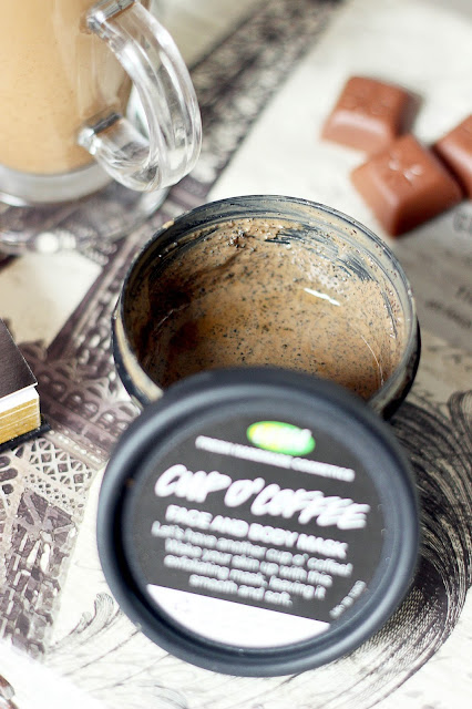 lush cup o'coffee face and body mask cleanse skin care routine