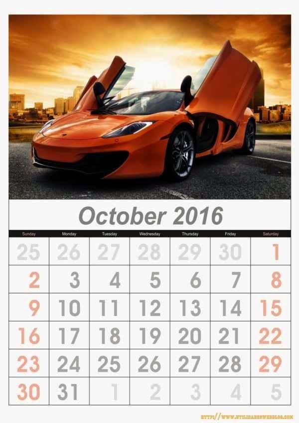 calendario de carros mes de octubre año 2016 listos para imprimir