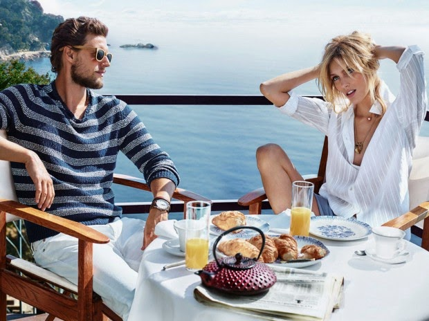 Massimo Dutti Spring Getaway 2015 Lookbook featuring  Anja Rubik and Sasha Knezevic