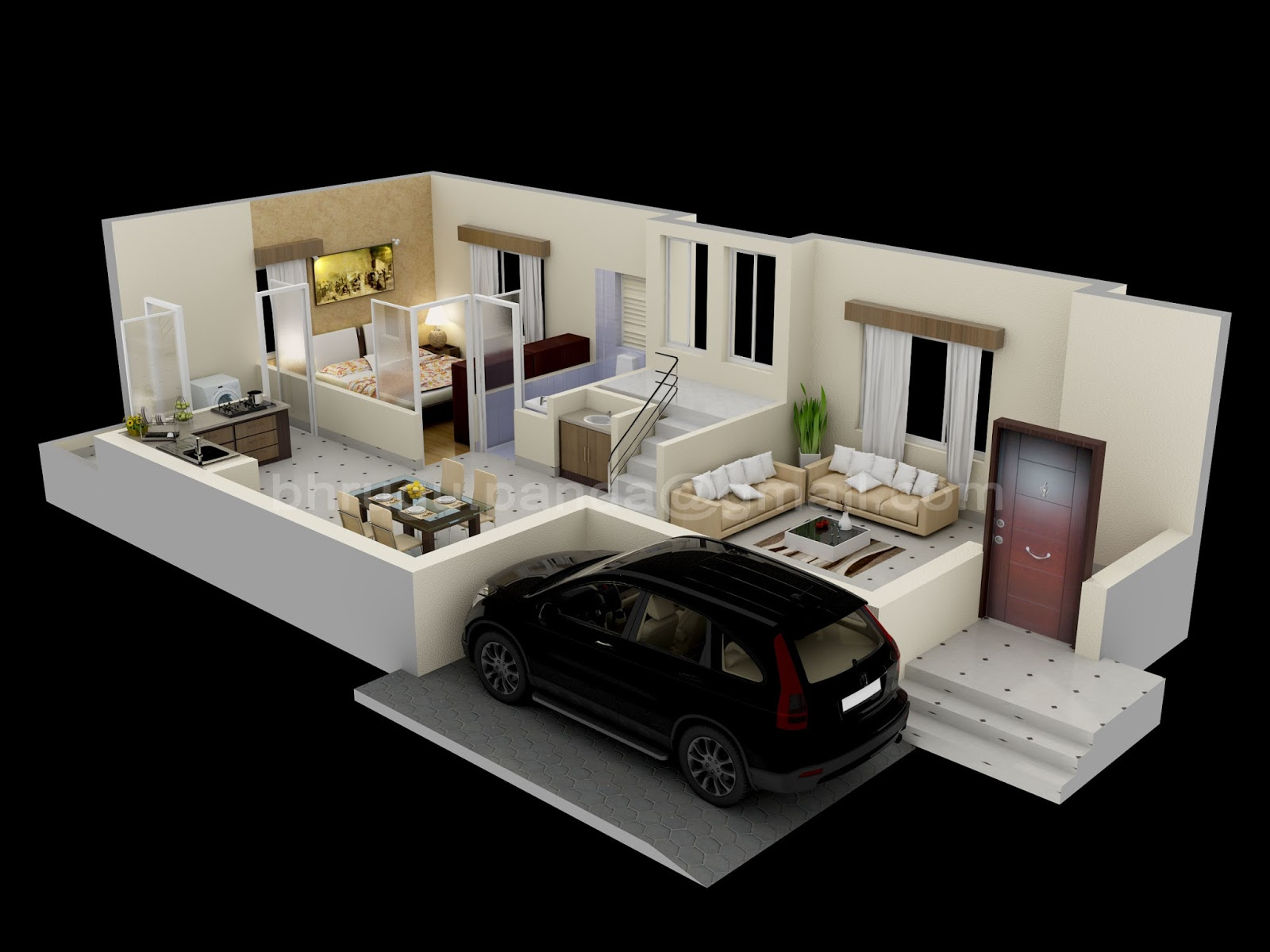 Floor plans 3d 3ds max vray 3d world for In plan 3d