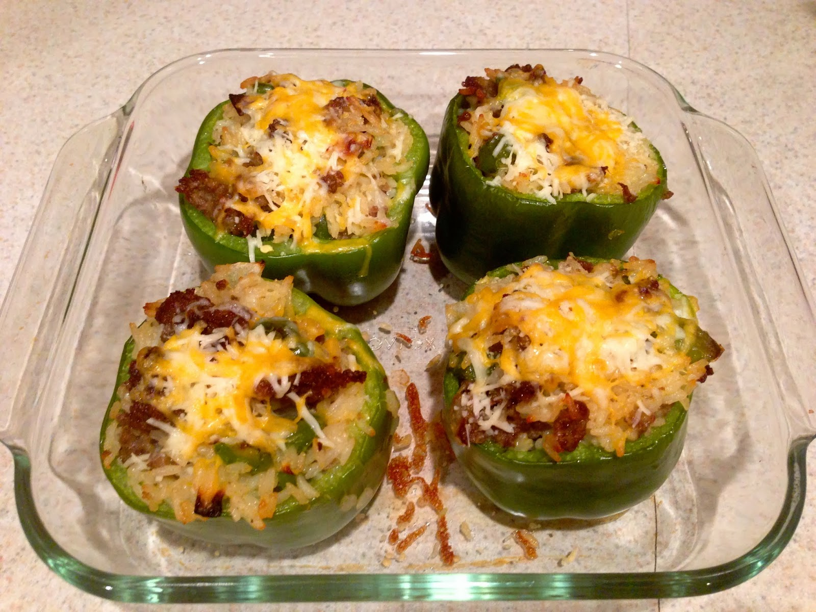 Stuffed Green Peppers With Rice Vegetables And Sausage Makes 4 Stuffed ...